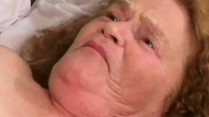 A filthy old lady needs to have her loose cunt brutally boned
