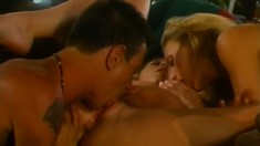 Horny bisexual bitches throw themselves all over a big schlong