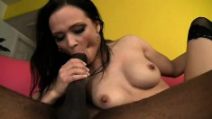 Enticing brunette with big tits Ally Styles has a black rod taking her pussy to orgasm