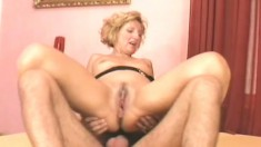 Lustful blonde lady jumps on top of a hard cock and rides it with great desire