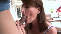 Slutty housewife in lingerie Linda Roberts gets nailed by a young stud