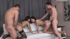 Two cock-hungry chicks mount their boyfriends' thick fuck rods