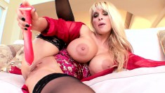 Blonde MILF Holly Halston wears naughty lingerie and plays with toys