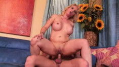 Sophia Mounds rides his hard wood and gets pumped on her side