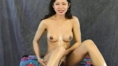 Hot Maya Chung Smears Her Tits With Chocolate And Eats A Banana
