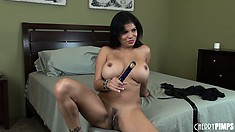 Her skilfull fingers and a sex toy are the tools she uses to find pleasure