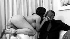 Kendra Lust in black and white filming for black and white fucking