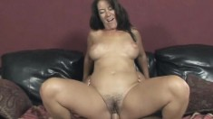 Big breasted mom with a fabulous ass sits on top of a throbbing pole