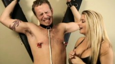 Mistress Nicolette titty twists her slave and ties up his cock