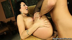 Zoey Holloway is spreading her stocking covered legs riding his cock
