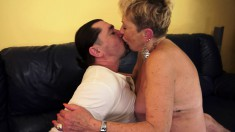 Curvaceous blonde granny releases her hot juices on a young man's dick