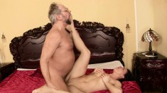 Alluring schoolgirl with splendid tits has sex with the German teacher