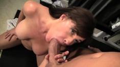 Buxom cougar Bella Roxx tongues her man's ass and fucks his hard pole