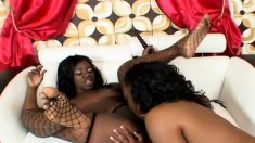 Big booty black girls licking and fingering each other's fiery pussies