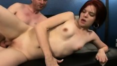 Young redhead secretary with a perky ass enjoys hot sex in the office
