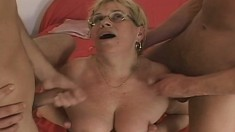 Lustful Mature Plumper In Black Stockings Engages In A Wild Threesome