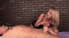 Ravishing blonde masseuse takes a fat cock to pleasure with her hands