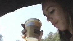 Trashy Babe With Tiny Tits Gets Drilled Hard And Creampied In The Car