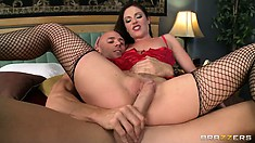 Sitting down on his crazy long hard cock, this MILF moans in pleasure