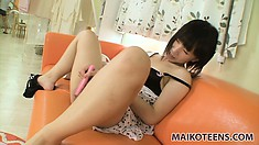 Yuki cums easily and loud, she loves to use her toys to masturbate