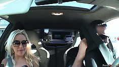 Savannah Gold gets gussied up and takes a ride in a sports car