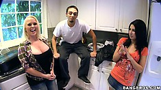 Three porn stars hook a guy up right in the street, take him home and fuck him
