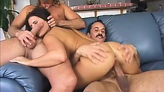 The stacked brunette displays her oral skills while riding a stiff cock with desire