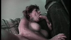 Horny old granny rubs her wrinkly twat and sucks a hard cock