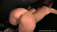 This hot brunette housewife shows off her cock hardening ass while she sucks his stiffy