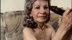 Naughty granny gets her coochie wrecked by a big black schlong