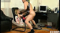 Louisa and Caspar M take a break from the office work for some hot sex