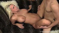 Busty blonde hottie Jacky Joy gives him joy with her mouth and pussy