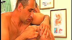 Horny Latino patient sucks his doctor's big cock and then wildly rides it