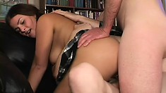 Dirty steeds brings intense double penetration to horny brunette