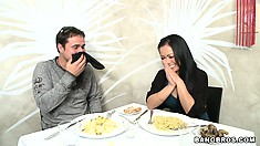 After some dirty talking a horny couple goes out for dinner in a restaurant
