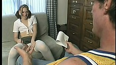 Innocent girl in schoolgirl uniform spreads her legs to get banged by a thug