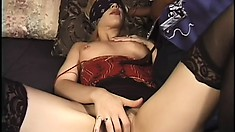 Attractive blonde with perky tits has two black guys roughly fucking her holes
