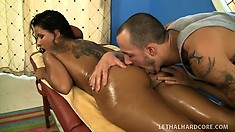 Gorgeous black beauty Elena Heiress has her tight snatch bashed