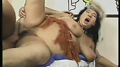 Chunky mature woman Hellen sucks a dick and takes it deep in her cunt from behind