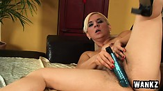 Chunky older woman works her hairy cunt with a thick sex toy