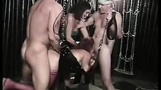 Legendary porn stud Rod Fontana lends his joystick to four sexy babes