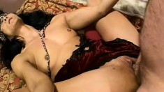 Mature Asian bitch gets down to work with a younger man's cock