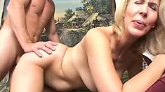 Mature blonde Erica Lauren has a young stud's big cock filling her ass