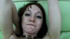 Cute chick sucks his cock hard so he can fuck her bald pussy