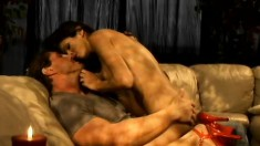 Sexy bitch Shy Love starts alone and is joined by a buff dude for hardcore sex
