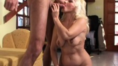 Mature granny gets her aged cunt slammed balls deep by a stud