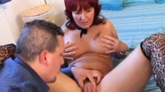 Lustful redhead cougar gets her juicy cunt banged deep by a young stud