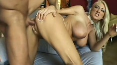 Sensational blonde with big boobs has a wet peach yearning for action