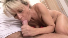 Skinny old blonde gets her well-kept body ravaged by a young man