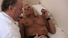 Hardcore Blonde Gilf In Sexy Black Lingerie Takes Her Man Balls Deep